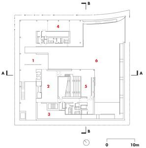 Second Floor  1 Nebuta study 2 Nebuta information 3 Nebuta history 4 community spaces 5 theatre 6 Nebuta Hall below