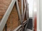 A view of the exposed steel seismic bracing. Maris Mezulis