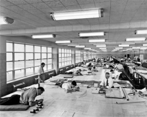 A view of the drafting room at the Albert Kahn-designed Ford Motor bomber factory in Willow Run, Michigan in 1942. Hedrich-Blessing/Chicago History Museum