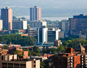 Hamilton City Hall in its downtown context.