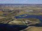 An aerial view of the wetlands indicates its proximity to Calgary's downtown. City of Calgary