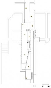 Upper Level  1 Ducks Unlimited 2 artist in residence 3 mechanical 4 green roof 5 roof deck 6 access bridge