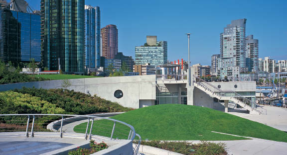 Built on a sloped waterfront site along Vancouver's Burrard Inlet, the Coal Harbour Community Centre forms part of a much larger redevelopment of Coal Harbour--an important area of the city's downtown that includes daycare and educational facilities, retail and numerous residential developments. Since the community centre was completed in 2002 (it was partially funded by developers to fulfill a successful community amenity contribution), Coal Harbour has evolved and matured, further contributing to Vancouver's image as a highly liveable city. Courtesy Henriquez Partners Architects