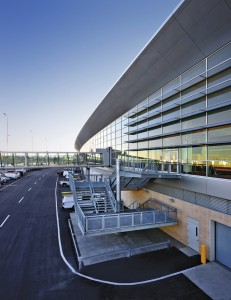 A deftly designed exterior fire escape projects from the terminal's faade.