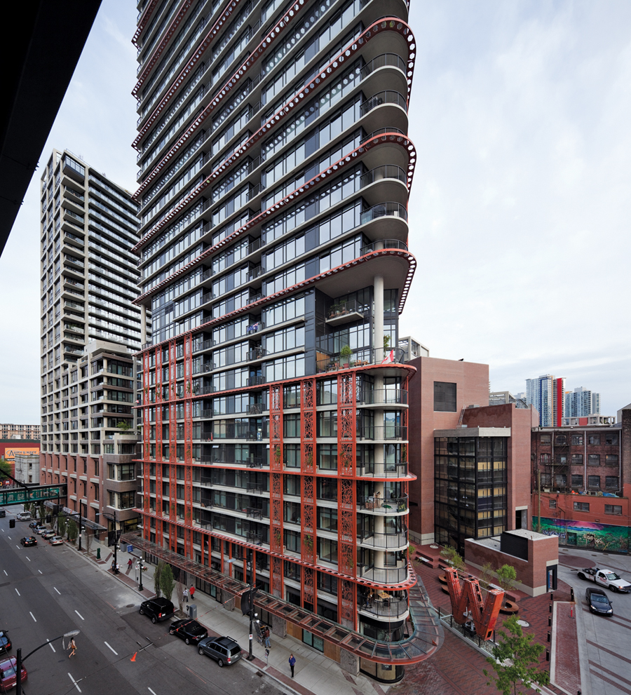 The slender profile of the mixed-use tower is viewed along the Cordova Street Axis. Paul Warchol