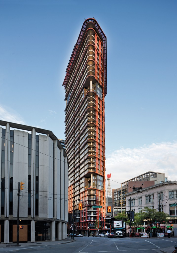 The strident colour and intricate steel trellises of the residential mixed-use tower provide some much-needed vitality to what was once a relentlessly bleak city block. Bob Matheson