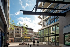 The Hastings Street forecourt offers a new semi-protected urban space in the neighbourhood. Bob Matheson