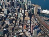 An aerial image positioning the redevelopment within the context of downtown Vancouver. Bob Matheson