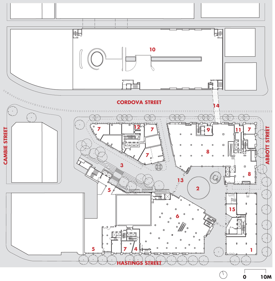 Ground Floor Site Plan  1 TD Canada Trust Bank  2 covered atrium  3 plaza  4 PHS singles non-market housing  5 SFU School for the Contemporary Arts  6 London Drugs retail  7 retail  8 Nesters Food Market  9 affordable family non-market housing 10 Cordova Parkade 11 W32 market housing 12 W42 market housing 13 Stan Douglas mural 14 2nd storey bridge to parkade 15 W2 Caf + Arts Collective