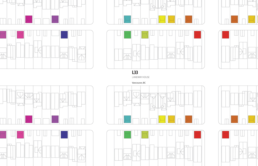 Oliver Lang created this drawing illustrating the many potential laneway houses in one Vancouver neighbourhood, including his L33 Laneway house. LWPAC