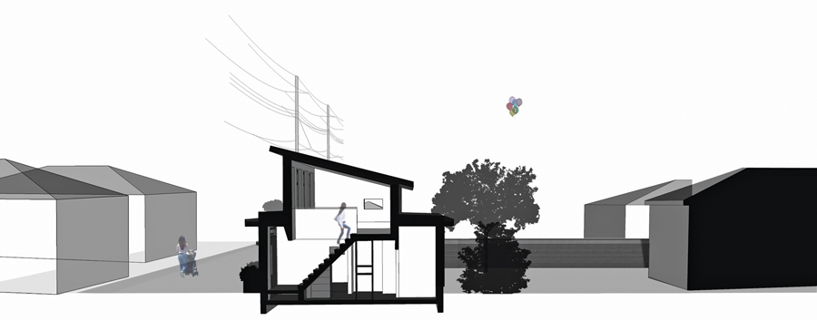 A section of LaneFab Design/Build's Mendoza Lane house. Lanefab Design/Build