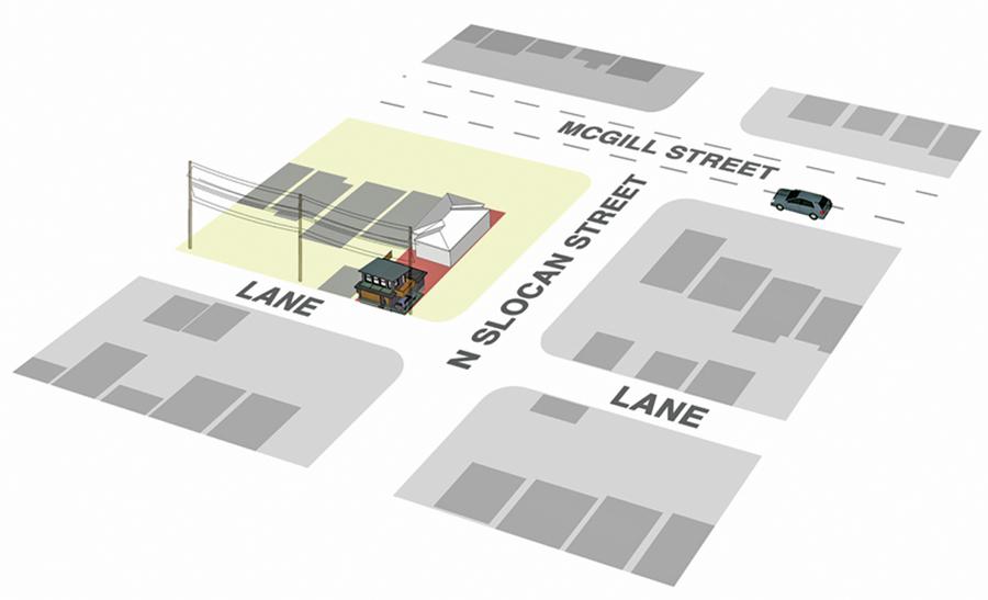 Site Plan--Lanefab Housing's McGill Street laneway house