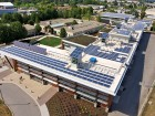 The largest array of photovoltaic solar panels in Western Canada generates electricity for the Okanagan College Centre of Excellence. Ed White