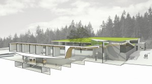 A section through a classroom wing illustrates the school's integration with the landscape.