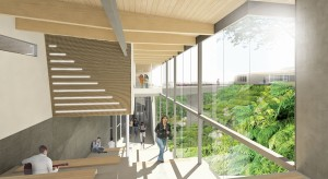 The connection between nature and the school's interior spaces reinforces an educational environment that is immersive with its site.