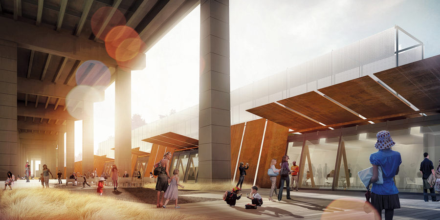 Cor-ten steel is used both as a canopy and as cladding to provide an appropriate counterpoint to the overwhelming scale of the Gardiner Expressway above.