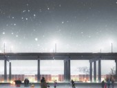 A rendering of the overall facility imbues the project with a dream-like quality.