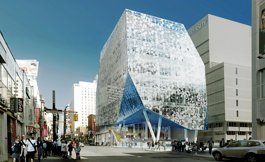 A view of the spectacularly clad student learning centre at the corner of Yonge and Gould Streets.