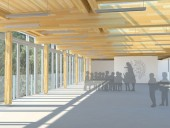 The classroom spaces hover above the forest floor and provide direct views of the forest canopy.
