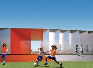 A bright-red glazed portal will provide access to washrooms, and office and administration areas.