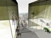 """Views of the city from one of the building's """"incisions."""""""