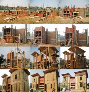 Multiple stages of construction of the LIFT House in Dhaka, Bangladesh.