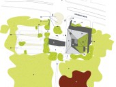 """Site Plan  1 main entrance  2 courtyard  3 retention pond  4 water jets and geothermal field  5 """"The Bubble""""  6 promenade and access to Parc de la Cit  7 wood lot  8 Red Maples  9 covered playground 10 flower garden 11 meteor garden 12 green roof 13 service entry 14 rock garden 15 """"North Star"""" 16 advertising columns 17 retaining wall 18 landscaped water retention basin 19 planting """"islands"""" 20 water retention and phytoremediation plantings 21 pedestrian walkways with permeable paving"""