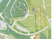 Site Plan  1 vehicle entrance/exit  2 parking lot  3 arrival terrace  4 bicycle parking  5 pedestrian walkway  6 snow storage  7 urban forest   8 rain garden walkway and pedestrian bridges  9 rain garden/bioswale 10 new stormwater outfall 11 existing stormwater outfall 12 pathway 13 rock garden/alpine plants 14 transitional future garden 15 roadway and pathway 16 barrier-free parking 17 vegetated turnaround 18 entry court 19 caf terrace 20 Welcome Center 21 knoll plateau 22 outdoor pavilion 23 Comstock knoll 24 existing mulch pathway 25 existing ring road 26 Lewis building 27 container garden 28 Robison York herb garden 29 Young flower garden 30 Mullestein winter garden 31 future gardens/international crop and weed gardens 32 event lawn 33 tree grove 34 Pounder heritage vegetable garden 35 McClintock shed 36 existing Gymnosperm bowl 37 new Gymnosperm planting 38 existing campus trail link 39 Beebe Lake 40 stormwater outfall