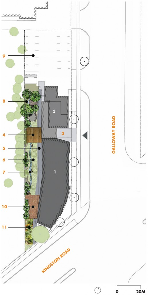 Site Plan   1 new daycare centre   2 main entrance   3 existing family services building   4 outdoor classroom   5 paved tricycle path   6 naturalized playground   7 rainwater infiltration swale   8 firepit ceremonial area   9 parking 10 toddlers' activity zone 11 traditional native garden