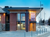 The new Baggage Building Arts Centre is an appropriate architectural response to the original heritage property.