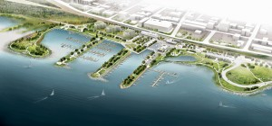 An aerial rendering illustrates Prince Arthur's landing and its relationship to the city's downtown core.