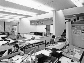 Inside the offices of Moriyama & Teshima, before computers became a ubiquitous part of daily work life.