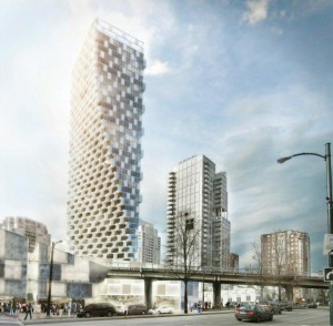 Beach and Howe mixed-use tower by BIG + Westbank + Dialog + Cobalt + PFS + Buro Happold + Glotman Simpson and  James Cheng.