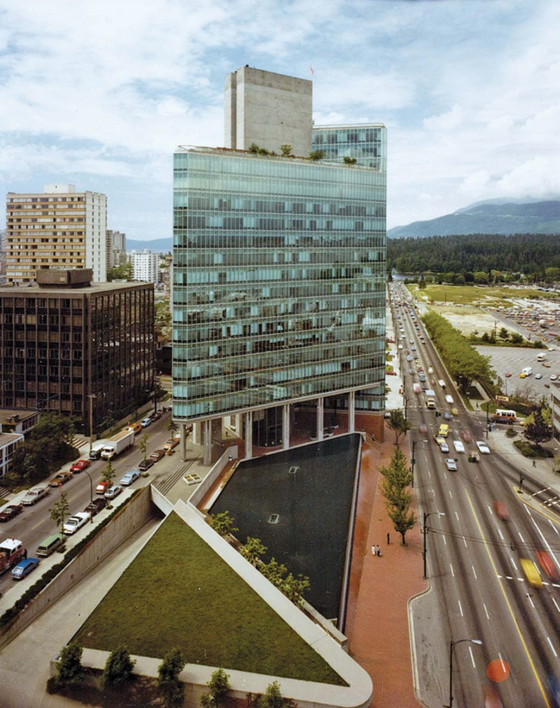 The Crown Life Building is as elegant today as when this photo was taken shortly after it first opened. Note the empty land to the building's right which has since been extensively redeveloped as Coal Harbour. Peter Cardew Architects