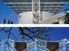 Two images of the CN Pavilion roof, as it was built for Expo '86.  Peter Cardew Architects