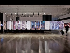 A vast array of suspended panels display the work of architect and artist Norman Slater at a recent exhibition in Montreal.