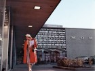 Seen in the background, Slater's ornamental grille graces the outside of Morgan's Department Store at the upscale Rockland Shopping Centre in Montreal (1959). Courtesy Centre De Design