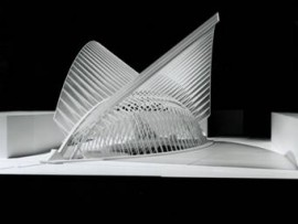 world trade center transportation hub model. photo courtesty of santiago calatrava LLC.