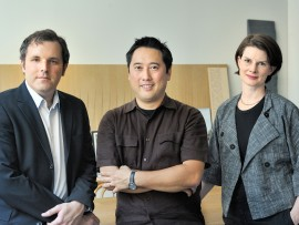shane williamson, donald chong and betsy williamson in their office at 235 carlaw avenue in toronto. photo courtesy of williamson chong architects.