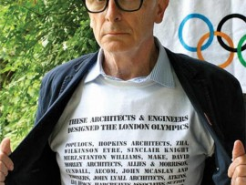New London Architecture Chair Peter Murray sports a T-Shirt bearing the names of the architects who made the London Olympics a reality. Dezeen