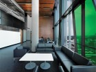 One of the many dynamic student lounge spaces peppered throughout this vertical campus.