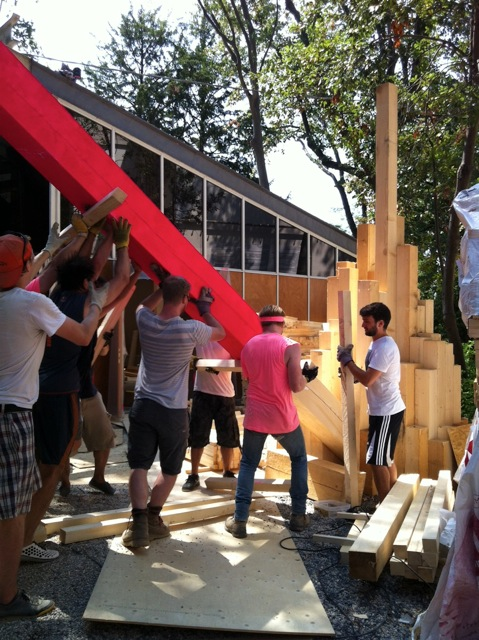 installation in progress at the canadian pavilion at the venice biennale