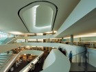 Most of the library book stacks can be seen from the central atrium, a wonderful orienting device.