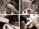 Four images depict workers at Craft Sanyuu in Niigata, Japan fashioning the jewelry to highly exacting standards. Craft Sanyuu