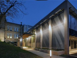 new entrance to the peel art gallery, museum and archives in brampton, ontario.