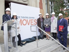 the theatre centre's new permanent home is revealed on the steps of the historic carnegie library at 1115 queen street west. left to right: artistic and general director franco boni; campaign chair michele fidani; honourary campaign chair don mckellar; councillor anna bailao; lucille roch, acting chair, ontario trillium foundation; and senator don meredith.