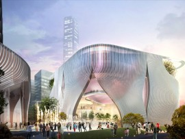 rendering of proposed design for xiqu centre in hong kong by bing thom architects and ronald lu & partners company ltd.
