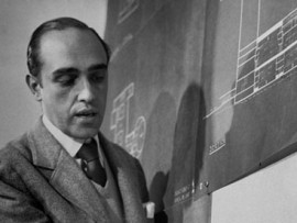 Brazilian architect Oscar Niemeyer discussing design for the UN headquarters. He has died at the age of 104. Photograph: Frank Scherschel/Time & Life Pictures/Getty