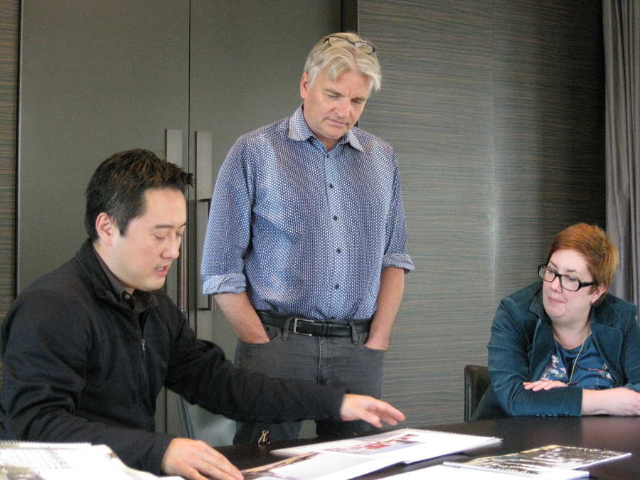 Donald Chong, Bruce Haden and Marie-Chantal Croft hard at work, conscientiously sifting through the 167 submissions to the 2012 Canadian Architect Awards of Excellence.