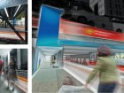 Three images depict urban design strategies that enable a broader public realm, including a comprehensive lighting strategy and an extended guardrail, along with the potential for the establishment of personal narratives inspired by the imagery behind the underpass's perforated inner skin.
